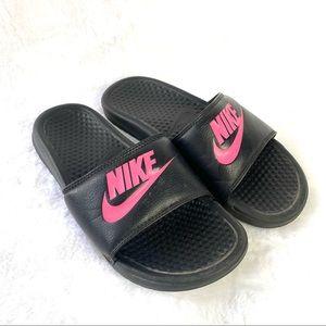 Nike Black Pink Graphic Comfy Slides Size 8